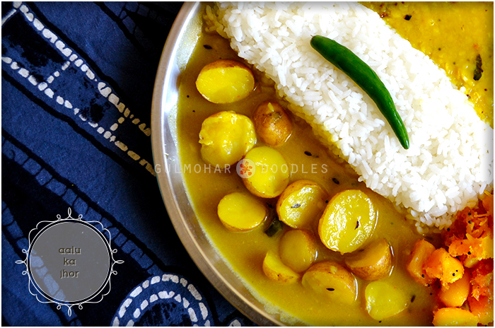 aalu ka jhor, aalu jhor, aalu ki gravy, aalu ki sabzi, aalu ki sabji, chote aalu ki sabji, chawal k gravy wali aalu ki sabji, small potatoes cooked in rice paste gravy, gravy, chote aalu, small potatoes, Jharkhand ka khana, Bihar ka khana, Jharkhandi khaana, Bihari khana, Dehati khana, naasta, khana, ghar ka khana, savouries, lost recipes, recipes, local food, healthy, authentic, nostalgia, winter food, lunch scenes, Indian, India, Indian food, comfort food, food love, Gulmohar Doodles, Puneeta Prakash Blog, Gulmohar Doodles