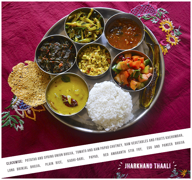 Jharkhand Thaali Menu, Jharkhandi Thali Menu, Thali Menu, Jharkhandi Life, Afternoon Stories, Potato and Spring Onion Bhujia, Tomato and Aam Papad Chutney, Raw Vegetables and Fruits Kachumbar, Brinjal Bhujia, Rice, Kadhi-Bari, Papad, Red Amarnath Stir Fry, Egg and Paneer Bhujia, Street food, Indian Food, Foodie, Love for food, Morning Rituals, Life, Happiness, Art, Thoughts, Doodles, Love, Inspiration, Quotes, Happiness, Recipes, Sowing Happiness, Spreading Love, Positive Thoughts, Gulmohar Doodles, Puneeta Prakash Blog, Puneeta Prakash, Personal Blog, Blogger