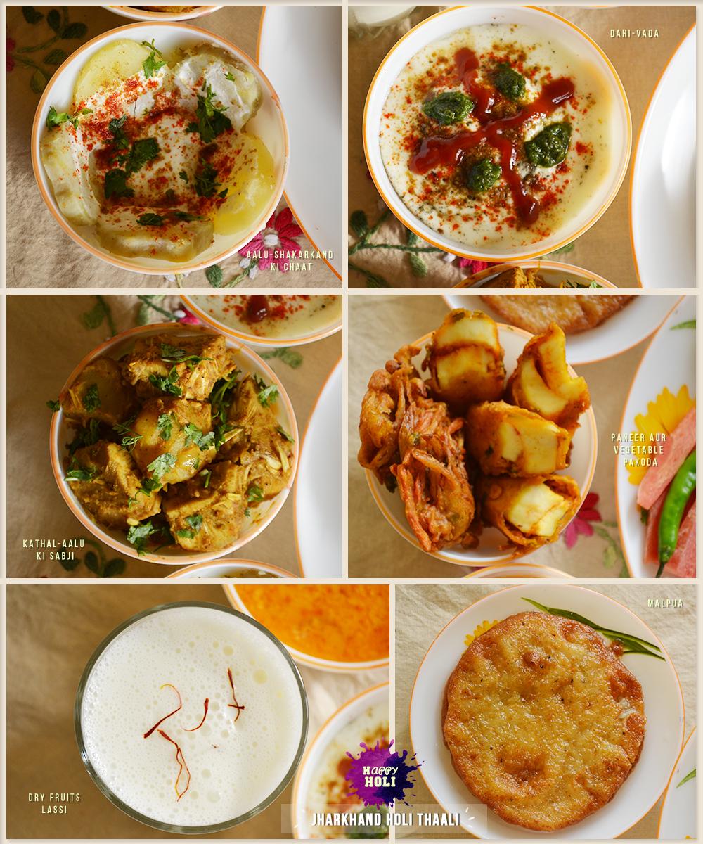 Holi Tales,Happy Holi, Holi Delicacies, Yummy Food Stories, Festival of Colors, Color Festival, Indian Festival, India, Indian Rituals, Food Stories, Delicacies of Jharkhand, Jharkhand State, Food of Jharkhand, Sakarkandi ki Chaat, Sweet Potato Chat, Dahi Vada, Curd Vada, Kathal ki Sabzi, Jackfruit Curry, Kathal-Aalu ki Sabji, Carrot Kheer, Gaajar ki Kheer, Panner and Mixed Vegetables Pakoda, Fritters, Pakode, Paneer ke pakode, Dry Fruits Filled Lassi, Lassi, Malpua, Nimki, Ajwain ki Poori, Ajwain Puri, Mixed Vegetble Pulao, Pulao, Salad, Jharkhand ki Thaali, Holi Thaali, Holi ki Thali, Holi Food, Lost Recipes, Street food, Indian Food, Foodie, Love for food, Morning Rituals, Breakfast, Chai Lover, Life, Happiness, Art, Thoughts, Doodles, Love, Inspiration, Quotes, Happiness, Recipes, Sowing Happiness, Spreading Love, Positive Thoughts, Gulmohar Doodles, Puneeta Prakash Blog, Puneeta Prakash, Personal Blog, Blogger
