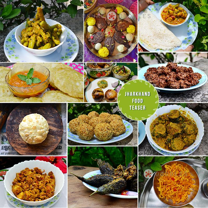 Jharkhand food, Jharkhand ka khana, Jharkhand ki speciality, sattu ki kachori, saag k daanton ki sabzi, thekua, chawal ka chilka, dalpuri, kheerkadam, arbi k patte ki sazi, sevai, bundiya, karele ka bharwan, gobi k sukaute ki sabzi, raam dana laddu, anarsa, litti, chokha, tamatar sarson ki chutney, tisi ki bari, flaxseeds fryums, poori, sabzi, Deoghar, food lovers, food, homemade, home cooked, rustic food, forgotten food, love for food, love made edible, gulmohar doodles, gulmohardoodles, Puneeta Prakash, Puneeta Prakash blog, blogger, Jharkhand, Indian cuisine, Indian Food
