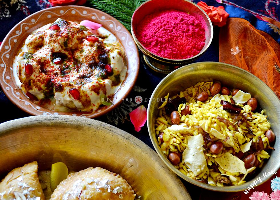 Holi, Holi2020, Holi hai, bura na maano holi hai, celebrations, happiness, daughter, dad, love, bonding, Jharkhand ka khaana, khana, jharkhandi khana, bihari khana, naasta, snacks, fried snacks, fried savouries, Holi, Desserts, Mithai, Dahi vada, malpua, dahi-wada, gujhiya, pidakiya, naariyal-mewa gujhiya, gujiya, chura bhunja, forni chura, phorni chuda, phorni chura, makhuti, makuti, moong daal ki kheer, Bihar special, Jharkhand special, Traditional food, Jharkhand traditional food, Bihar traditional food, happiness, sweet, Jharkhand, Bihar, homemade, ghar ka khana, Gulmohar Doodles, Puneeta Prakash blog